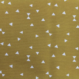 Poly cotton fabric Triangle - mustard  x 10cm
