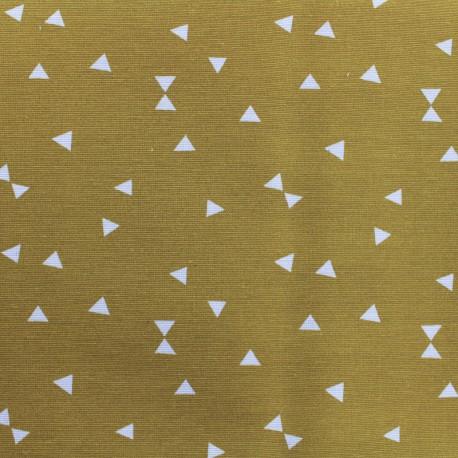 Poly cotton fabric Triangle - mustard  x 10cm