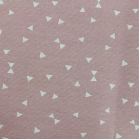 Tissu Oeko-Tex Polycoton Triangles blanc - rose x 10cm