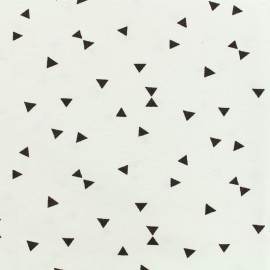 Poly cotton fabric black Triangle - white  x 10cm