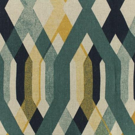 Poly cotton fabric Linen Custo - dark green and mustard  x 10cm