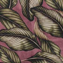 Poly cotton fabric Linen Panama - plum background  x 10cm