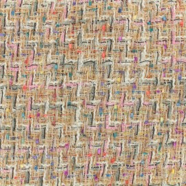 Carnaval Tweed fabric - blush/matte gold x 10cm