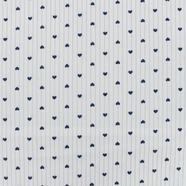 Poly cotton supple fabric Small heart - white x 10cm