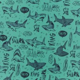 Tissu déperlant short de bain shark vert x 10cm