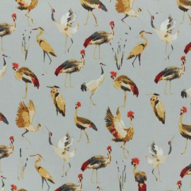 ♥ Only one piece 40cm X 150 cm ♥ Cotton fabric satin popelin - royal crane grey
