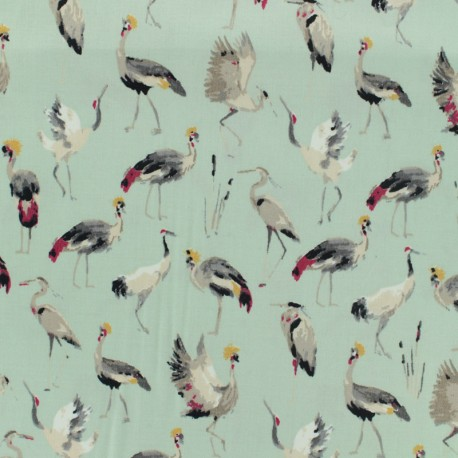 Cotton fabric satin popelin - royal crane mint green x 10cm
