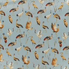 Cotton fabric satin popelin - royal crane sky x 10cm