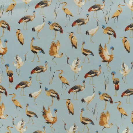 Cotton fabric satin popelin - royal crane sky x 10cm