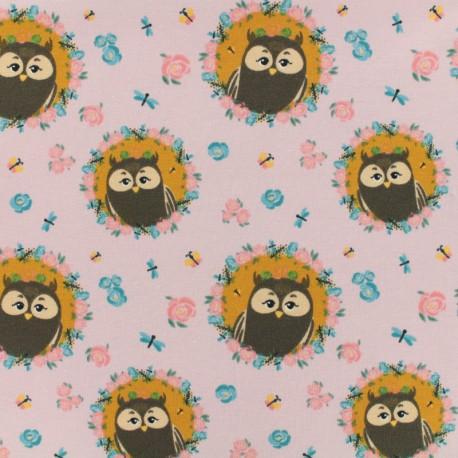 Oeko-Tex Jersey fabric Hibou chou - mauve x 10cm
