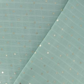 Double gauze fabric mint - gold x 10cm