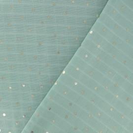 Tissu double lange de coton vert d'eau petits pois doré x 10cm