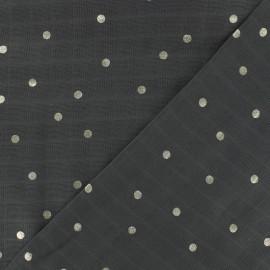 ♥ Coupon 20cm X 140cm ♥ Tissu double lange de coton Rico design - gris pois argent
