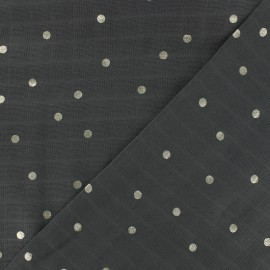 Tissu double lange de coton Rico design - gris pois argent x 10cm