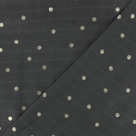 Tissu double lange de coton gris pois argent x 10cm