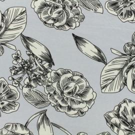 Tissu jersey viscose Springtime Flowers - gris bleu x 30cm