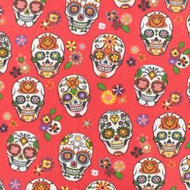 Tissu coton cretonne tête de mort - rouge x 10cm