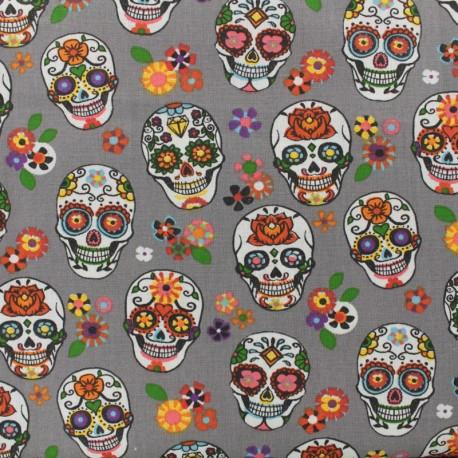 Cotton fabric skull - grey x 10cm