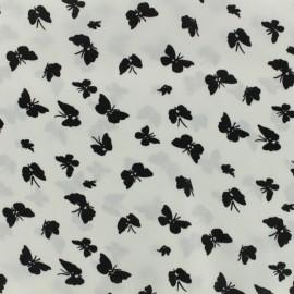 Tissu satin polyester Doux papillons - blanc x 10cm