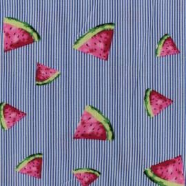 ♥ Coupon tissu 30 cm X 145 cm ♥ crêpe Pastèque - bleu