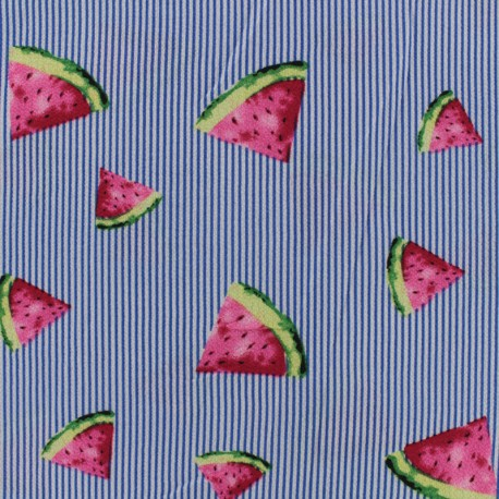Tissu crêpe Pastèque - bleu x 10cm