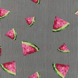 Tissu crêpe Pastèque - noir x 10cm