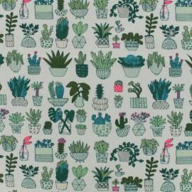 Tissu jersey coton Rico Design cactus blanc - fluo rose x 10cm
