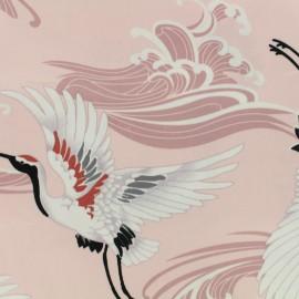 Tissu Gabardine satin Pink crane - rose x 20cm