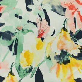Tissu Gabardine satin Bloom - blanc x 20cm