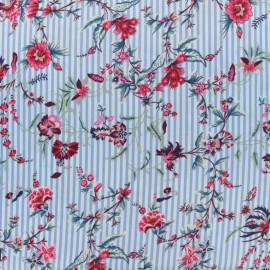 Tissu crêpe Sweet Stripes - bleu x 10cm