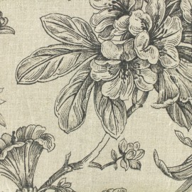 Linen Fabric black Provence - natural x 30cm