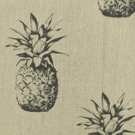 Linen Fabric black Pineapple - natural x 30cm