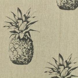 Tissu lin Ananas noir - naturel x 30cm