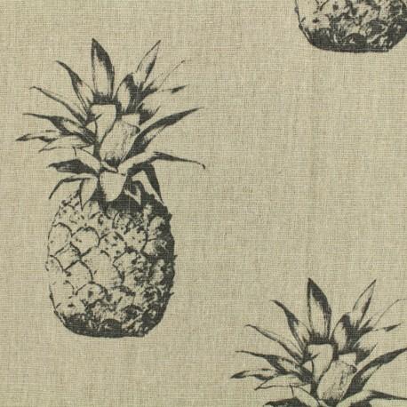 Tissu lin Ananas noir - naturel x 10cm