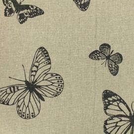 Tissu lin Papillons noir - naturel x 30cm