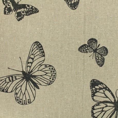 Linen Fabric black Butterflies - natural x 10cm