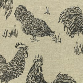 Linen Fabric black Chickens - natural x 30cm