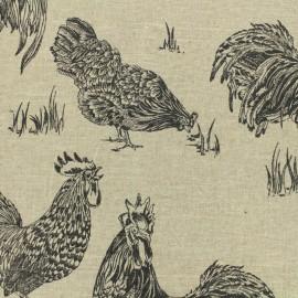 Tissu lin Chickens noir - naturel x 30cm