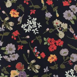 Tissu crêpe Flower field - bleu x 10 cm