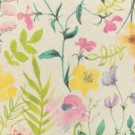 Tissu Toile polycoton L'été de Lolita - naturel x 30cm