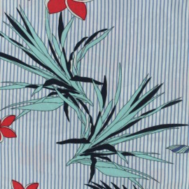 Tissu viscose Hawaiian Stripes  - bleu x 20 cm