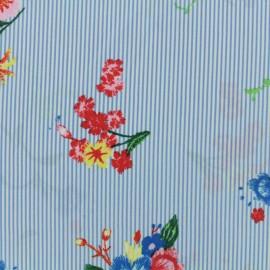 Tissu viscose Spring Stripes  - bleu x 20 cm