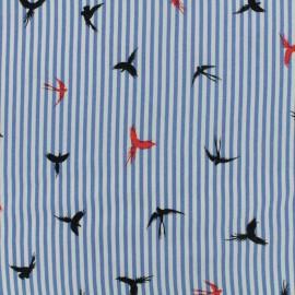 Tissu viscose Sweet Birds - bleu x 10 cm