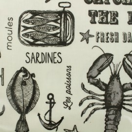 Coated cotton Fabric Seafood - white  x 30cm