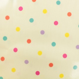 Tissu coton enduit Dotty sunshine - creme  x 10cm