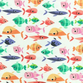 Printed Oeko-Tex coton fabric Fish - blanc x 10cm