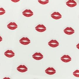 Tissu coton popeline bisou - blanc x 10cm