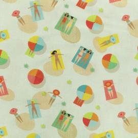 Printed Oeko-Tex coton fabric Bather - ecru x 10cm