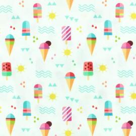 Printed Oeko-Tex coton fabric Ice cream - white x 10cm