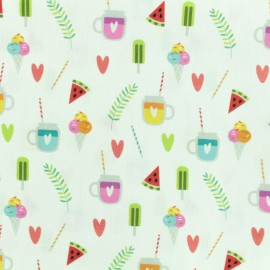 Printed Oeko-Tex coton fabric Sweet pleasure - white x 10cm